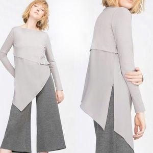 ZARA W & B asymmetrical tunic top gray large